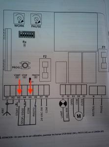 Buscar en las instrucciones de la centrailita los terminales del pulsador (start/stop)