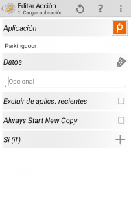 Tasker-Cargar Parkingdoor en Android