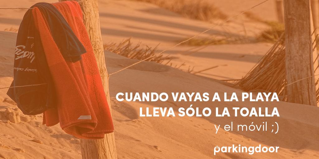 playa, toalla, móvil, smartphone, parkingdoor